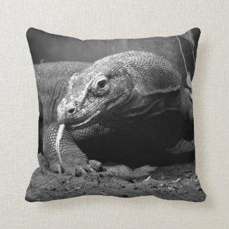 komodo dragon black and white tongue out left throw pillow
