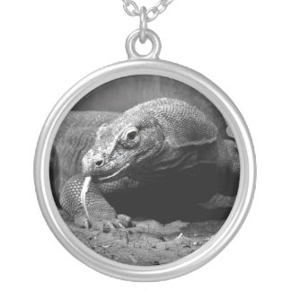 komodo dragon black and white tongue out left round pendant necklace