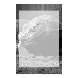 komodo dragon black and white tongue out left stationery