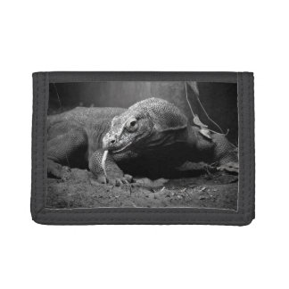 komodo dragon black and white tongue out left tri-fold wallet