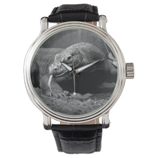 komodo dragon black and white tongue out left wrist watch