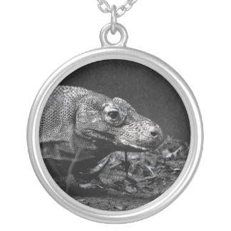 komodo dragon bw looking right round pendant necklace
