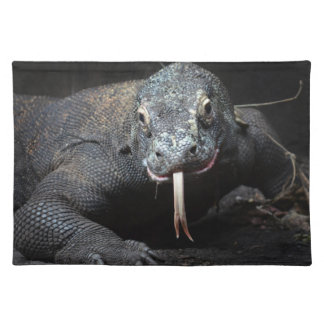 komodo dragon tongue out drooling cloth placemat