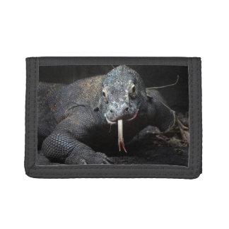 komodo dragon tongue out drooling tri-fold wallet