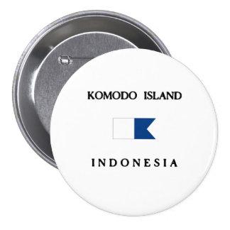 Komodo Island Indonesia Alpha Dive Flag Pinback Buttons