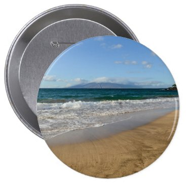 Beach Themed Komohana Volcano in Maui Hawaii Pinback Button