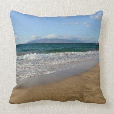 Beach Themed Komohana Volcano in Maui Hawaii Throw Pillow