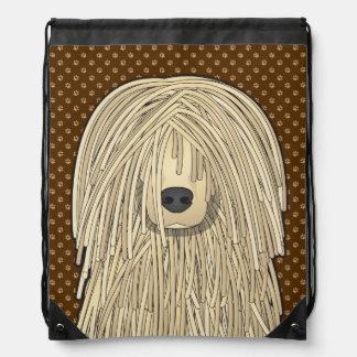 Komondor Dog Cartoon Paws Drawstring Backpack