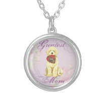 Komondor Hearts Mom Silver Plated Necklace