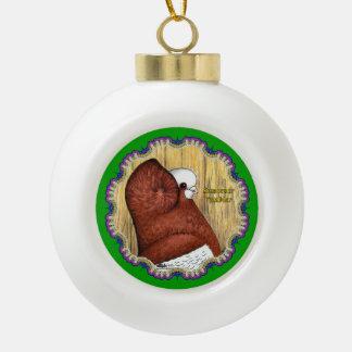 Komorner Tumbler Woodgrain Ceramic Ball Christmas Ornament