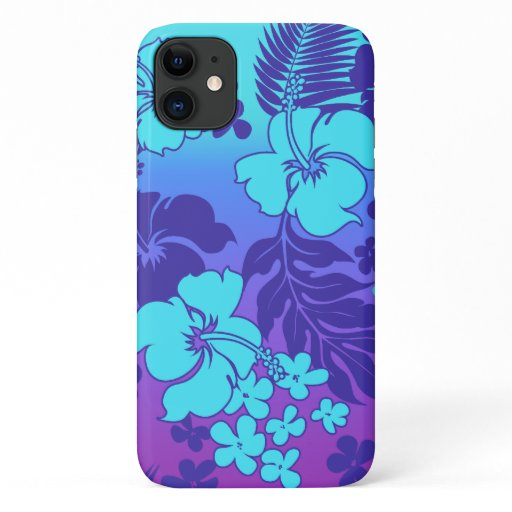 Kona Blend Hawaiian Hibiscus Turq and Violet iPhone 11 Case