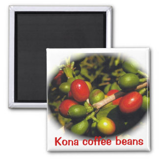 Kona Coffee Beans 2 Inch Square Magnet