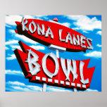 Kona Lanes Bowl Retro Neon Sign Poster