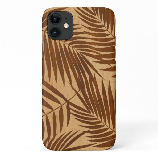 Kona Palms Hawaiian Leaf Faux Wood iPhone 11 Case