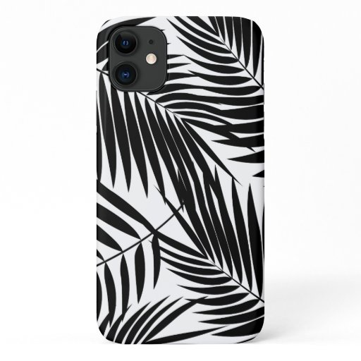 Kona Palms Hawaiian Leaf Tropical Black iPhone 11 Case