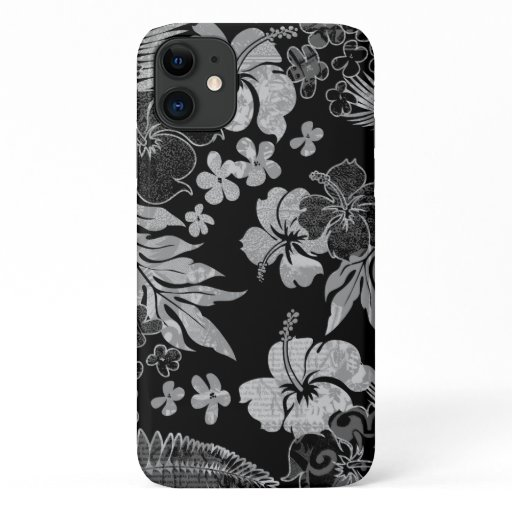 Kona Times Black Hibiscus Hawaiian Engineered iPhone 11 Case