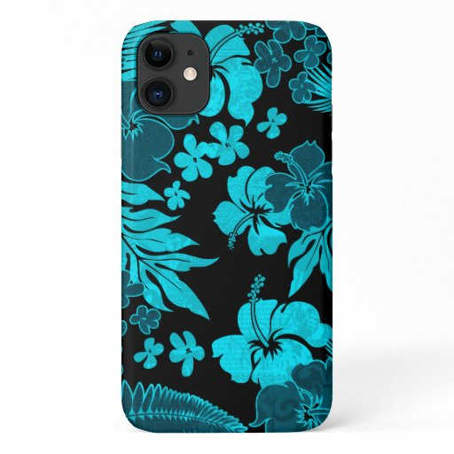 Kona Times Teal Hibiscus Hawaiian Engineered iPhone 11 Case