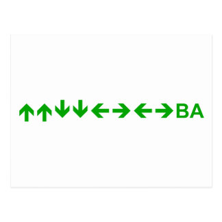 Konami Code in Green Postcard