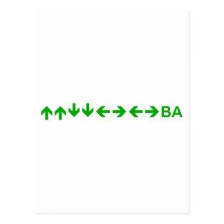 Konami Code in Green Postcards