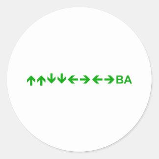 Konami Code in Green Round Sticker