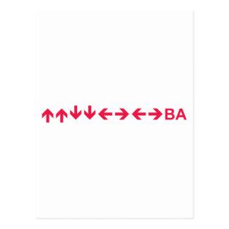 Konami Code in Red Postcard