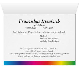 Kondolenzkarte Regenbogen Stationery Note Card