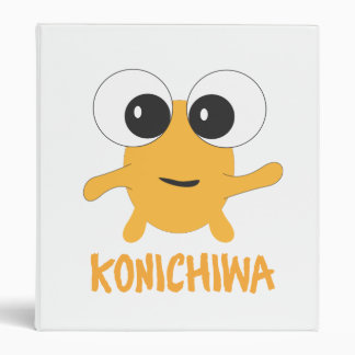 Konichiwa Yellow Anime Character 3 Ring Binders