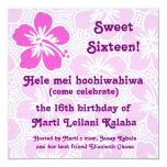 """Kono Hibiscus Tropical Invitations 5.25"""" Square Invitation Card"""