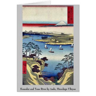 Konodai and Tone River by Ando, Hiroshige Ukiyoe Stationery Note Card