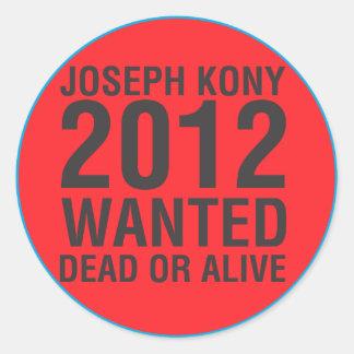 Kony2012 quiso al pegatina redondo muerto o vivo