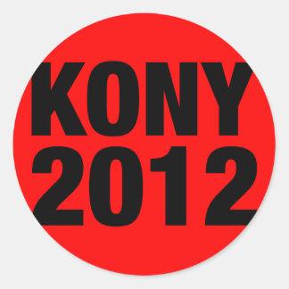 Kony 2012 Black on Red Square Classic Round Sticker
