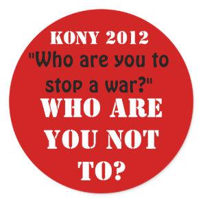 Kony 2012 classic round sticker