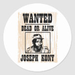 Kony 2012 Joseph Kony Wanted Poster Classic Round Sticker