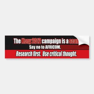 Kony 2012 Scam, Anti-AFRICOM Bumper Sticker Car Bumper Sticker