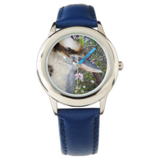 Kookaburra,_Blossoms,_Kids_Blue_Leather_Watch. Wrist Watch