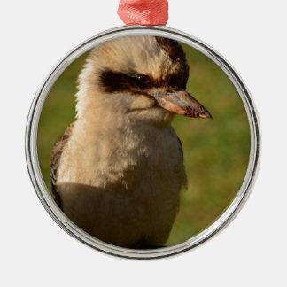 kookaburra adorno redondo plateado