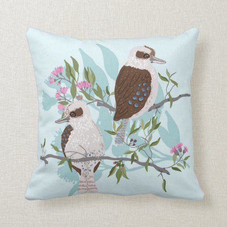 Kookaburras sitting on Gum Tree branch Throw Pillow