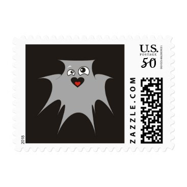 Halloween Themed Kooky Bat Ghost Grey Happy Halloween Stamp