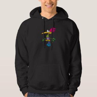 kooky crazy tropical exotic bird cartoon hoodie