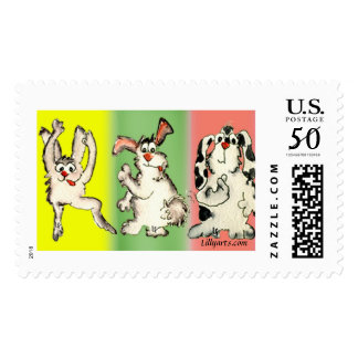 Kooky Rabbits Custom Postage Stamps