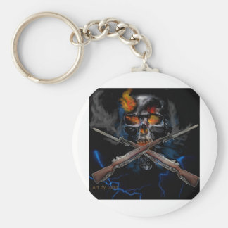 kool skull drawing with rifles basic round button keychain