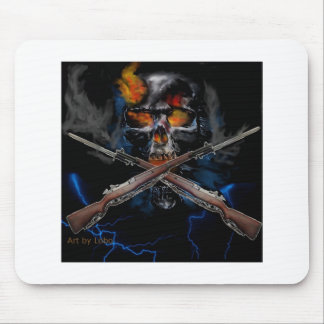 kool skull drawing with rifles mouse pad