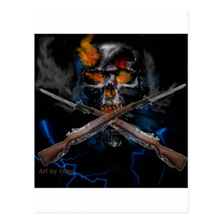 kool skull drawing with rifles postcard