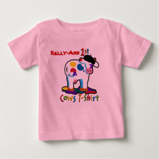 KoolKidZnCo Cute Personalize Name My First Cows Baby T-Shirt