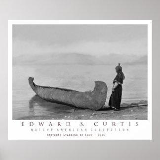 Kootenai Indian Standing by Canoe Poster