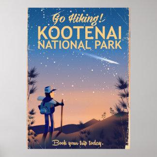 Kootenai National park Hiking travel poster