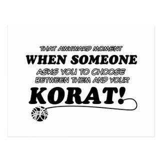 Korat Cat breed designs Postcard