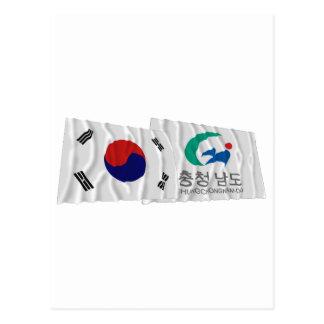 Korea and Chungchongnam-do Waving Flags Postcard