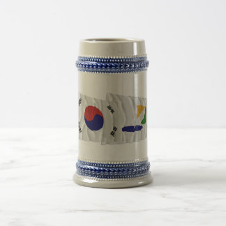 Korea and Kangwon-do Waving Flags Beer Stein