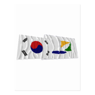 Korea and Kangwon-do Waving Flags Postcard